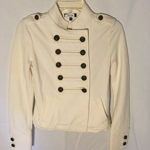 Double breasted Military style jacket.